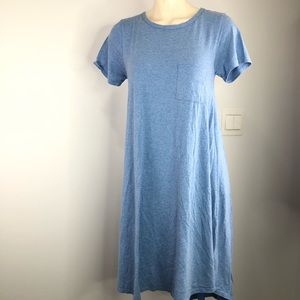Lularoe Blue short sleeve dress w/ front pocket S